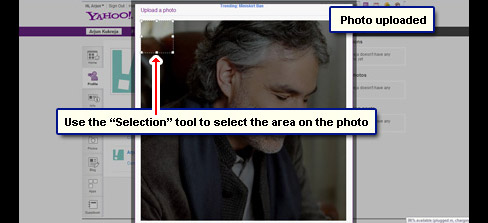 Photo is displayed with a selection tool. Drag corners and move it around to select the area of the photo you want to use on Yahoo