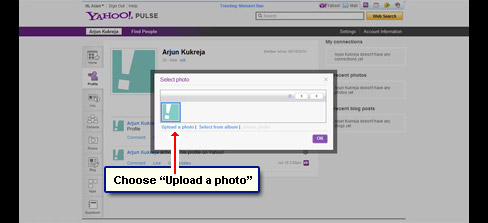 Choose the option of uploading photo from your computer