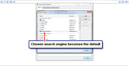 how to set search engine in chrome