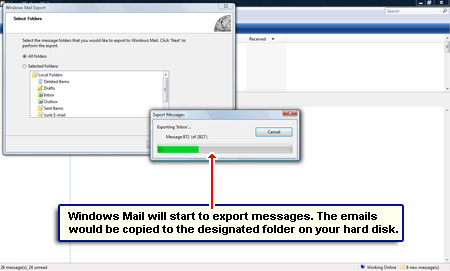 Copy and move email from Windows Mail to Windows Live Mail