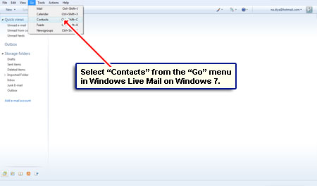 windows live mail how to delete contacts