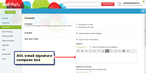 The AOL email signature compose box