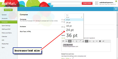 How to create email signature in AOL