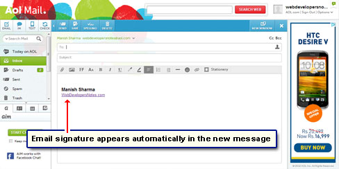 View your AOL email signature for the first time!