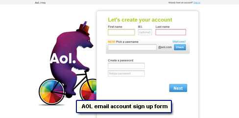 AOL new account online registration form