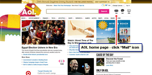 The AOL service home page