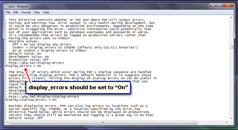 Ensure that display_errors is On
