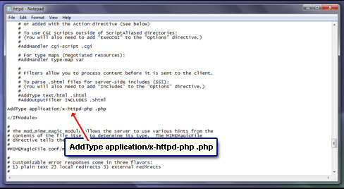 Include the AddType for PHP files