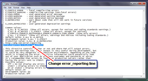 Locate the PHP error reporting line.
