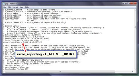 Modify the error reporting line in the php.ini file