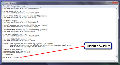 Specify the PHP install directory to the Apache web server