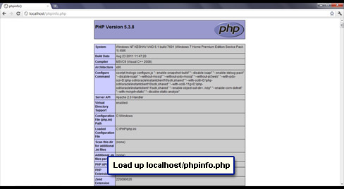 phpinfo file displayed in a browser