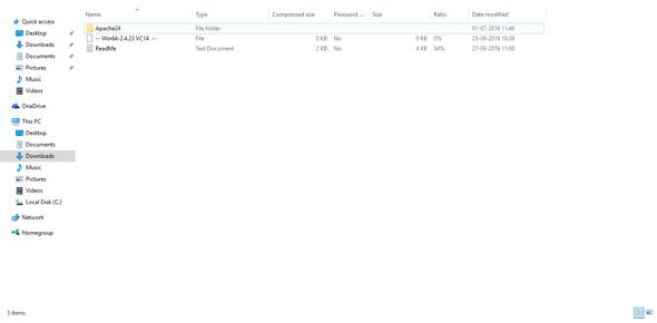 Apache24 folder inside the archive