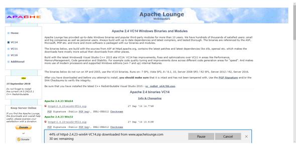 Download the Apache zip file