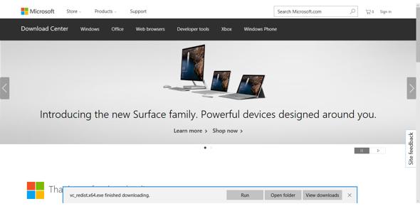 Running the Visual Studio installer file