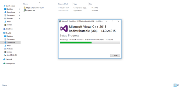 Visual Studio beings to install on Windows 10