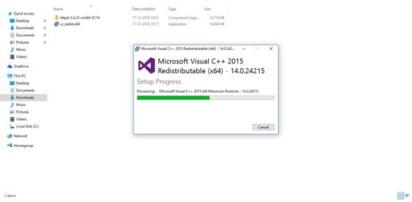 Visual Studio beings to install on Windows 10