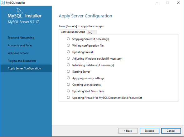 Apply MySQL configuration - Click Execute