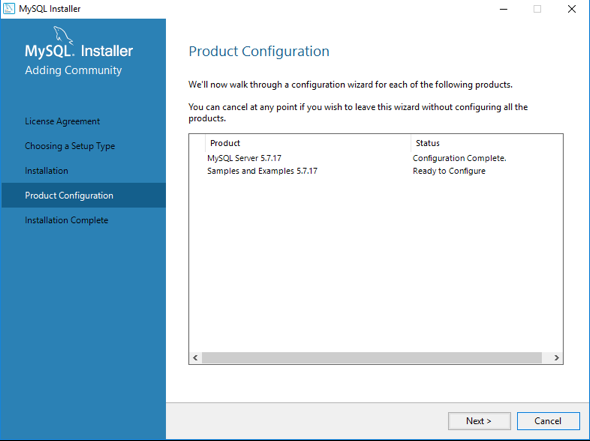 Click Next button for product configuration