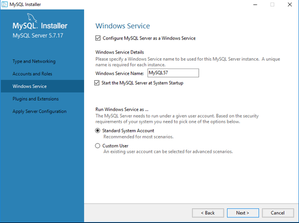 Configure MySQL as a Windows service