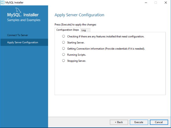 Execute to apply server configuration