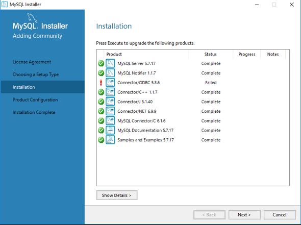 MySQL components being installed