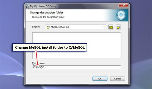 Change MySQL install folder to C:\MySQL.