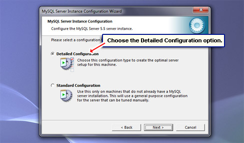 Choose the Detailed Configuration option.