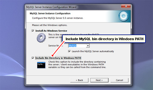 Include MySQL bin directory in Windoes PATH.