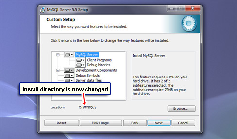 Install directory is not changed.