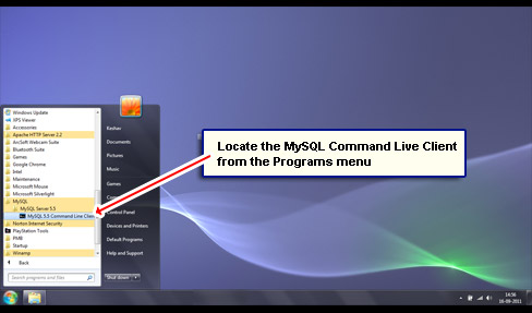 Locate the MySQL Command Live Client from the Programs menu.