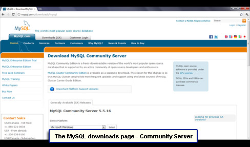 The MySQL downloads page - Community Server.