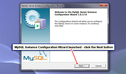 MySQL Instance Configuration Wizard launched - click the Next button.