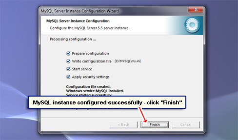 MySQL instance configured successfully - click Finish.