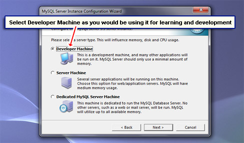 Select Developer Machine as you would be using it for learning and development.