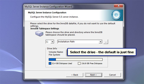 Select the drive - the default is just fine.