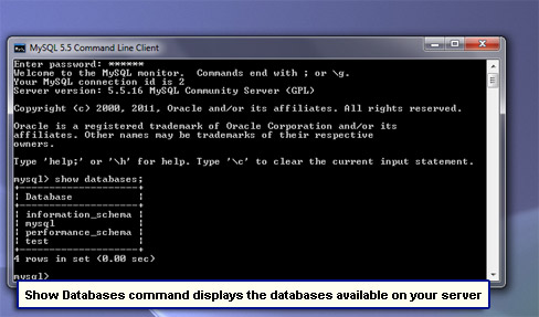 Show Databases command displays the databases available on your server.
