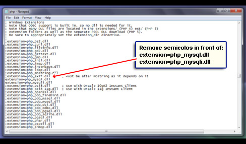 Uncomment the two MySQL extensions by removing the semicolons