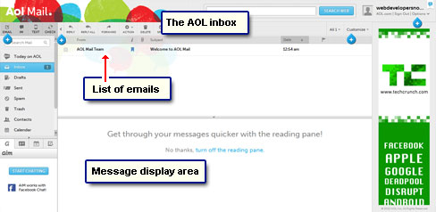 The AOL inbox - email message list and display area