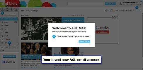 Your brand new AOL email account