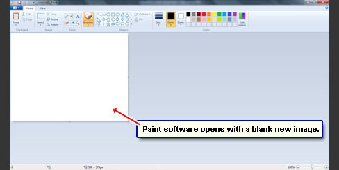 Paint opens a blank image