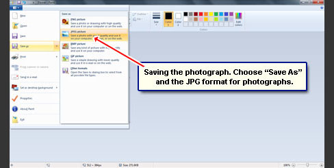 Save the photo in the Paint program