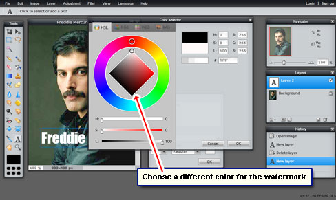 Change watermark color from the color wheel