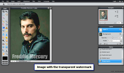 Get a transparent or semi-opaque watermark on the image