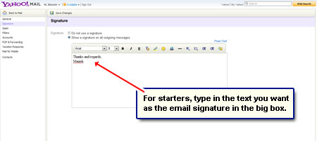 Yahoo email signature - customize mail account
