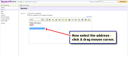 how to change signature on yahoo email account