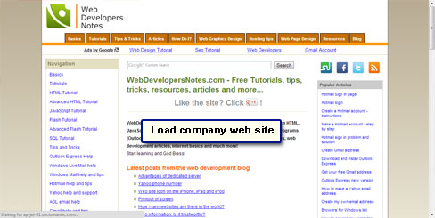 Load your company website