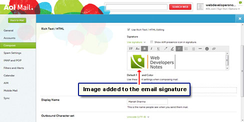 Image is now embedded in the signature
