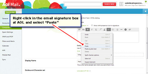 Paste the image in the AOL email signature box