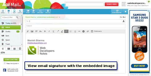 View the email signature with the image